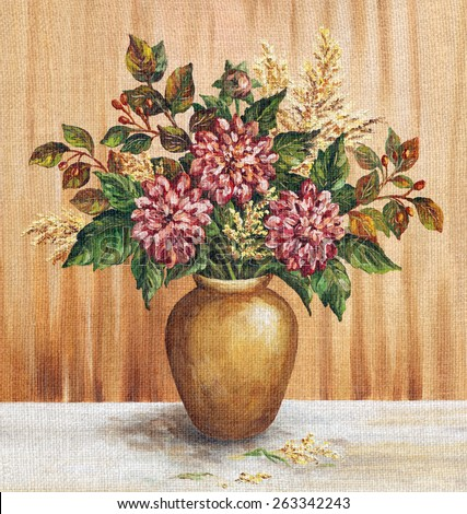 Picture Oil Painting on a Canvas, a Bouquet of Dahlias in a Clay Vase - stock photo