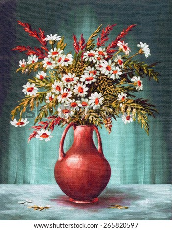 Picture Oil Painting on a Canvas, a Bouquet of Flowers in a Clay Vase - stock photo