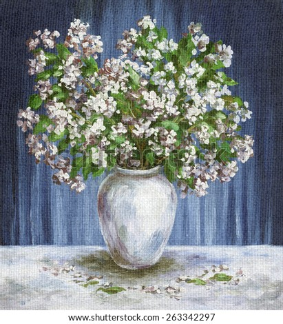 Picture Oil Painting on a Canvas, a Bouquet of Flowers Jasmine in a White Vase - stock photo