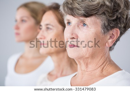 Picture presenting three beauty women - aging process - stock photo