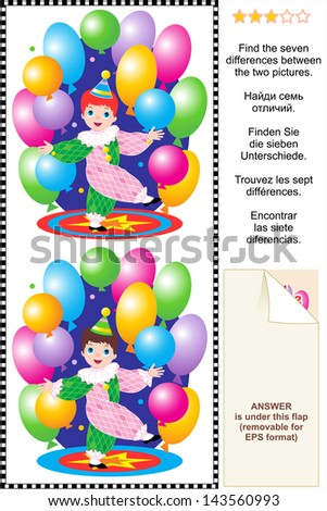 Picture puzzle: Find the seven differences between the two pictures of little circus clown boy performing with colorful balloons. For EPS format see image 143291488 - stock photo