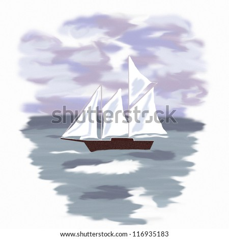 picture sailboat at sea illustration - stock photo