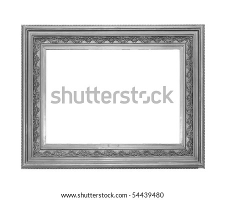 Picture silver frame on the white isolated background - stock photo