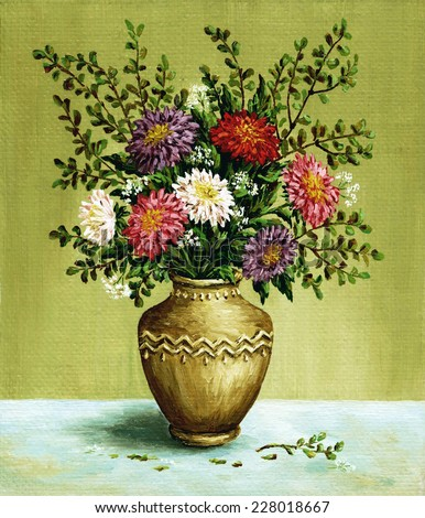 Picture, still-life, bouquet asters in a clay vintage amphora. Hand draw oil paintings on a canvas - stock photo