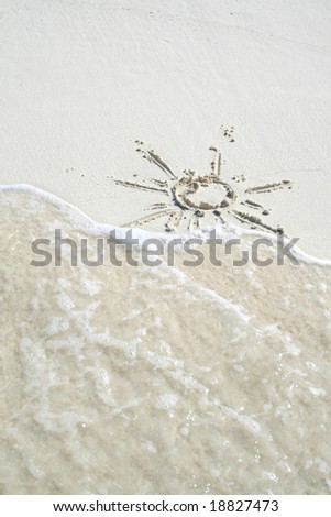 picture sun on white sand - stock photo