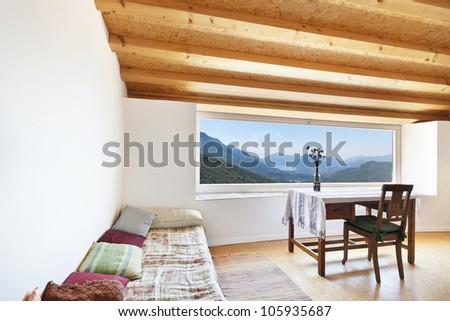 picture window, rural home interior - stock photo