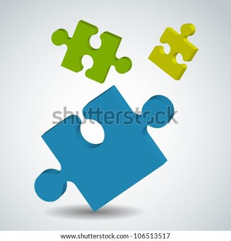 Picture with puzzle pieces - stock photo