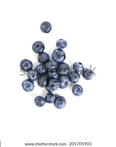 Picture with sweet blueberry isolated on white background - stock photo