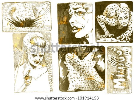 Pictures and frames inspired by classic underground comix - LEOPARD FEMALE AND HER FRIEND LEOPARD - this is original picture - picture in vintage style, marked by sunshine. Drawing - stock photo