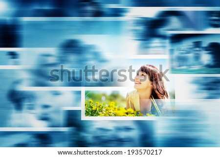Pictures display in motion making a multimedia broadcast. All photos are mine. Concepts of television, adverstising, entertainment. - stock photo