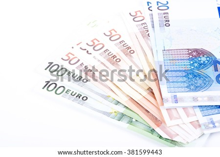 pictures of euro banknotes on a white background - stock photo