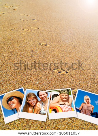 pictures of holiday people having rest with sand in background - stock photo