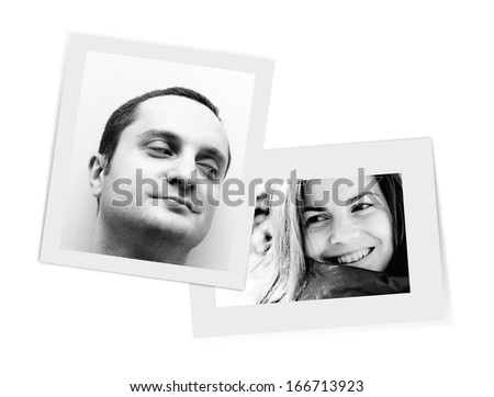 Pictures smiling one to each other - stock photo