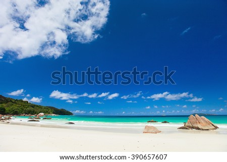 Picturesque Anse Lazio the best beach on tropical Praslin island in Seychelles - stock photo