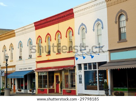 Picturesque architecture and storefronts in downtown Chagrin Falls, Ohio - stock photo