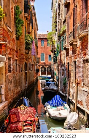 Picturesque canal in a quite neighborhood in Venice, Italy - stock photo