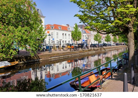 Picturesque canal in the city of Hague (Den Haag), Holland, Netherlands. - stock photo