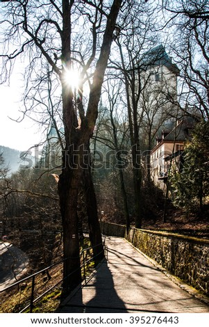 Picturesque Carlstein castle view through the trees in the Czeck Republic - stock photo