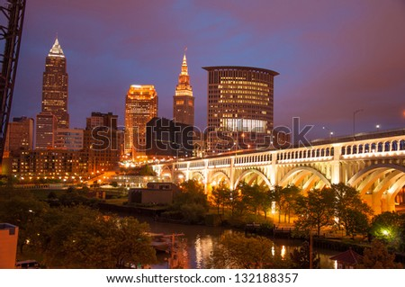 Picturesque Cleveland, Ohio on a beautiful night - stock photo