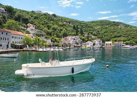 picturesque coast along Kotor Bay, Montenegro - stock photo