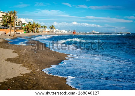 Picturesque coast in Benalmadena town. Malaga, Andalusia, Spain - stock photo