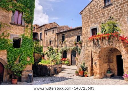 Picturesque corner of a quaint hill town in Italy - stock photo