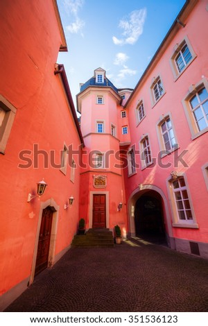 picturesque courtyard in the old town of Trier, Germany - stock photo