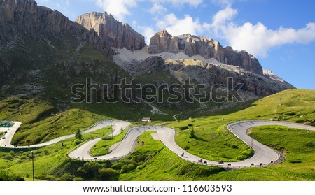Picturesque Dolomites  landscape with mountain road. Italy - stock photo