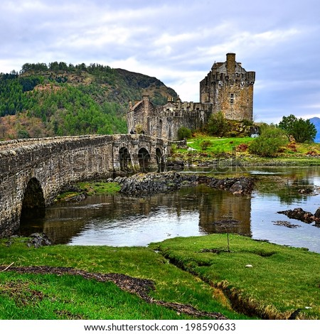 Picturesque Eilean Donan Castle in the highlands of Scotland - stock photo