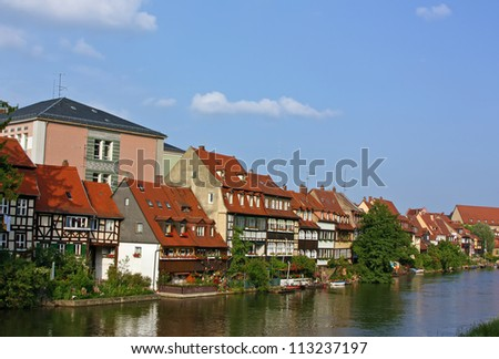 Picturesque fishermen'??s cottages on the banks of the river in Bamberg - stock photo