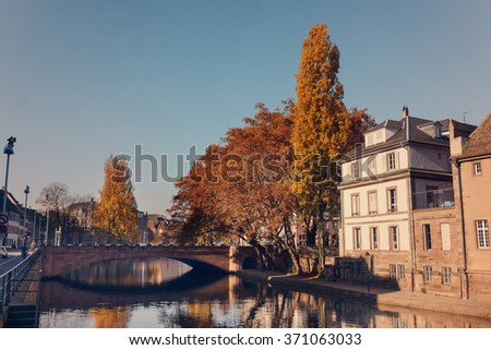 Picturesque houses along the Rur River in the historic center of Strasburg, France - stock photo