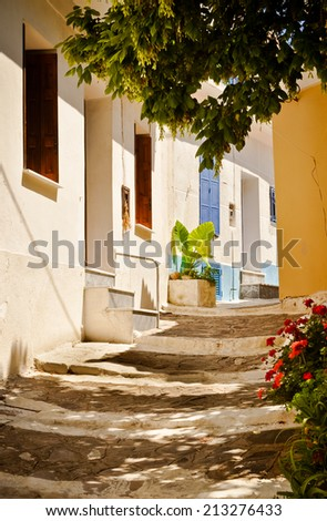 Picturesque Koumeika street, Samos island, Greece - stock photo