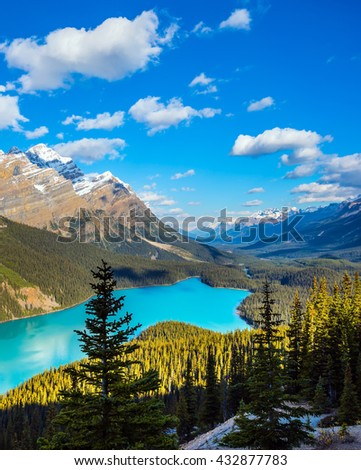 Picturesque Lake Peyto in Banff National Park. Turquoise water and the shape of the lake in the form of a wolf's head are popular with tourists - stock photo