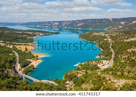 Picturesque lake with turquoise water among wooded hills. Canyon of Verdon, Provence, May - stock photo