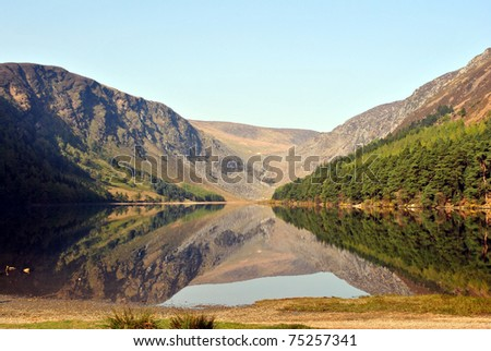 picturesque landscape in glendalough county wicklow ireland a tourist attraction - stock photo