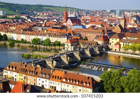 Picturesque landscape with Wurzburg, Germany - stock photo