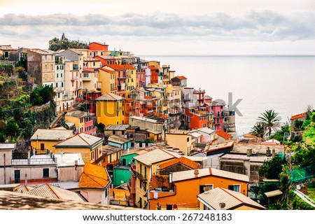 Picturesque Manarola. Manarola is a small town in the province of La Spezia, Liguria, northern Italy. - stock photo