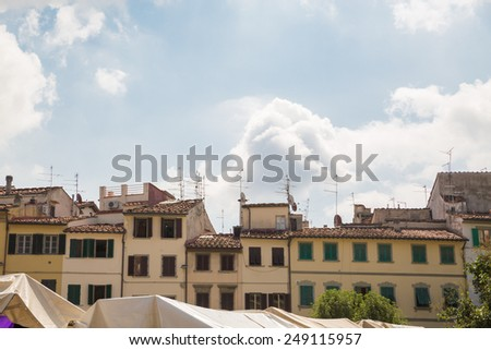 Picturesque market street view in Florence, Italy - stock photo