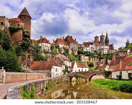 Picturesque medieval town of Semur en Auxois, Burgundy, France - stock photo