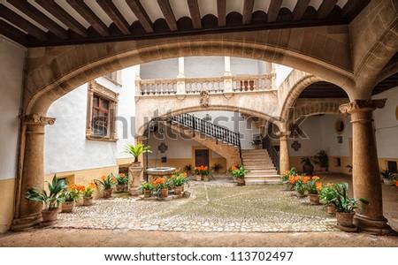 Picturesque mediterranean courtyard in Palma de Mallorca, Spain - stock photo