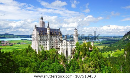Picturesque nature landscape with Neuschwanstein Castle. Germany - stock photo