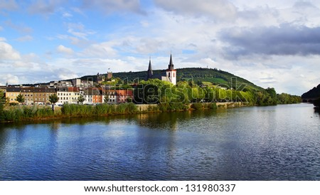Picturesque nature panorama of the Bingen. Germany - stock photo