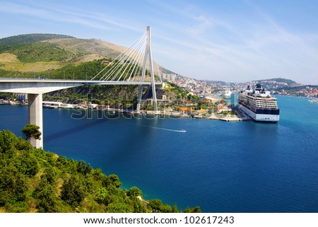 Picturesque nature seascape with cruise liner. - stock photo