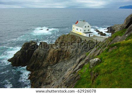Picturesque Norway landscape with lighthouse. - stock photo