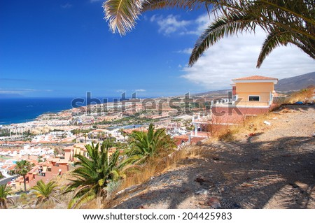 picturesque outstanding landscape of beautiful resort playa de las americas on tenerife, canary islands, spain - stock photo