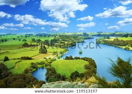 Picturesque river landscape - stock photo