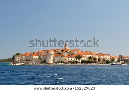Picturesque scenic view of the old town with port of Korcula, Croatia - stock photo