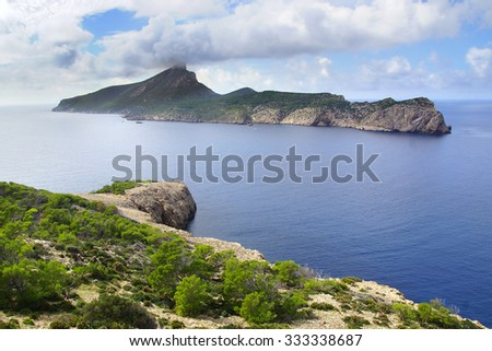 Picturesque sea landscape with Dragonera island. Mallorca, Balearic Islands in Spain - stock photo