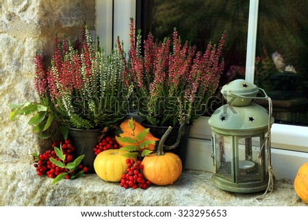 Picturesque small decoration in farm in Poland. Pumpkin, heathers and lantern on window. Autumn crops. - stock photo