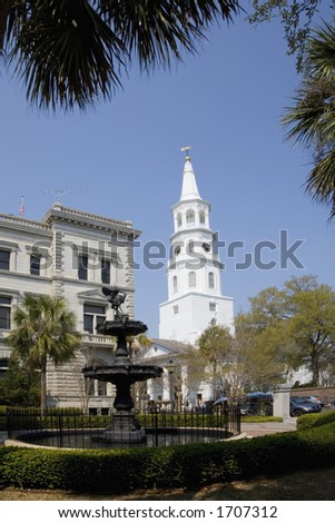 Picturesque St. Michael's Church in Charleston South Carolina.  Built in 1761. - stock photo